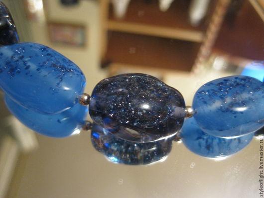 """Колье, бусы ручной работы. Ярмарка Мастеров - ручная работа. Купить Колье из итальянского стекла """"Тайна морей"""". Handmade. Синий"""