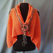 Одежда handmade. Livemaster - original item Cardigan Jacket Vest Is Knitted Of Half-Woolen Yarn Brooch Tie. Handmade.