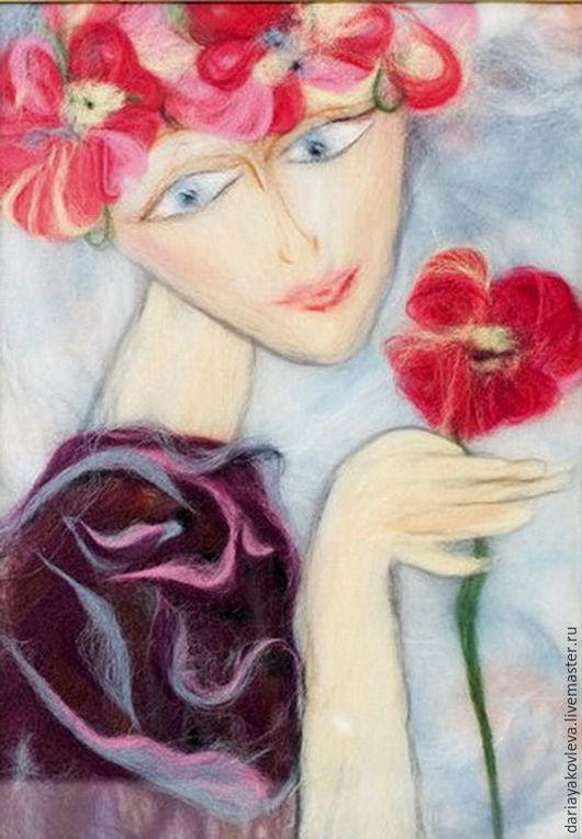 Люди, ручной работы. Ярмарка Мастеров - ручная работа. Купить Картина из шерсти Девушка с цветком. Handmade. Ярко-красный