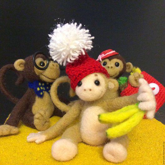 Игрушки животные, ручной работы. Ярмарка Мастеров - ручная работа. Купить Валяные обезьянки/ Новый год:). Handmade. Коричневый, шерсть