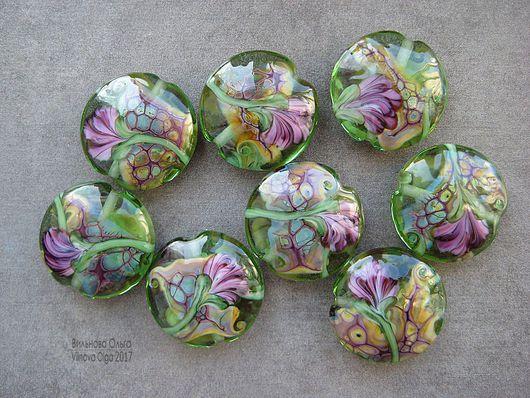 Для украшений ручной работы. Ярмарка Мастеров - ручная работа. Купить Бусины лэмпворк с цветочным декором. Handmade. Авторский лэмпворк