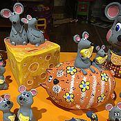 Копилки ручной работы. Ярмарка Мастеров - ручная работа Копилки «Кот с мышами», «Мышки на сыре». Handmade.