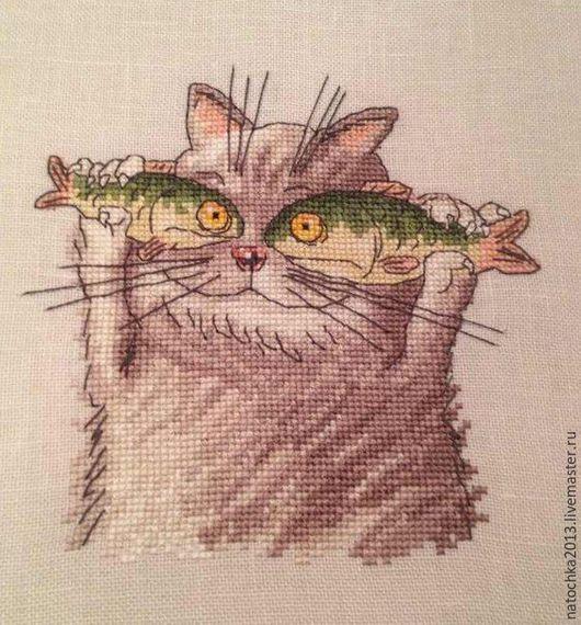 Животные ручной работы. Ярмарка Мастеров - ручная работа. Купить Картина Кот-рыболов. Handmade. Комбинированный, подарок, ручная работа