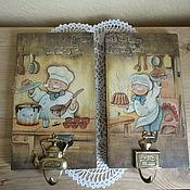 """Для дома и интерьера ручной работы. Ярмарка Мастеров - ручная работа Панно - вешалка для кухни """" Сладкая парочка"""". Handmade."""