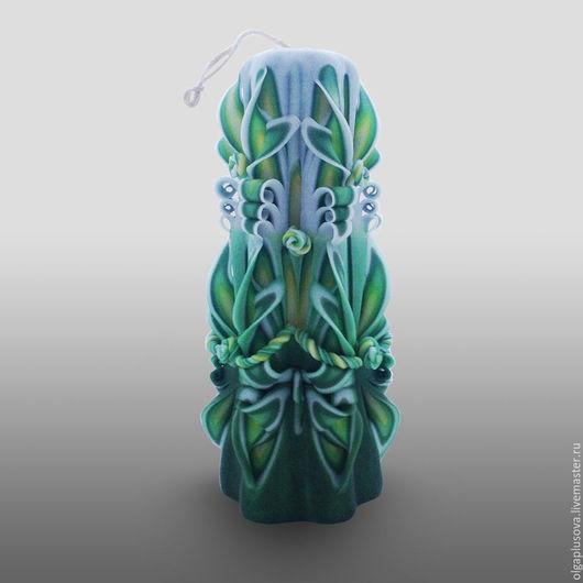 Персональные подарки ручной работы. Ярмарка Мастеров - ручная работа. Купить Резная свеча Желто-Зеленая большая. Handmade.