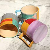 Посуда ручной работы. Ярмарка Мастеров - ручная работа Кружка с геометрическим рисунком 350 мл. Handmade.