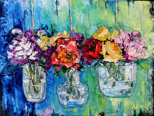 Картины цветов ручной работы. Ярмарка Мастеров - ручная работа. Купить На весу. Handmade. Салатовый, цветы, цветы в вазе