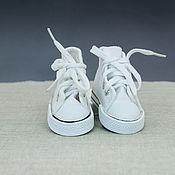Фурнитура для кукол и игрушек ручной работы. Ярмарка Мастеров - ручная работа Кеды белые для куклы на шнуровке - 7,5 см. Handmade.
