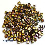 Материалы для творчества handmade. Livemaster - original item 10g 3 462 mm cube Miyuki Japanese glass seed beads rainbow gold metallizer. Handmade.