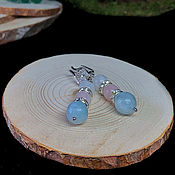 Украшения handmade. Livemaster - original item Moonstone, Rose quartz and Aquamarine earrings. Handmade.