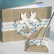 Свадебный салон handmade. Livemaster - original item Wedding Guest Book, Rustic Guest Book, Doves, Forget-me-nots, Rustic. Handmade.