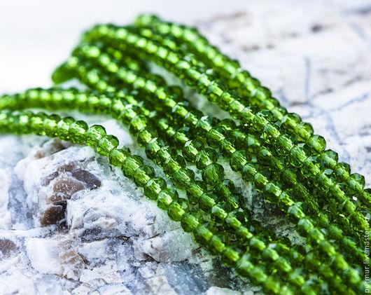Для украшений ручной работы. Ярмарка Мастеров - ручная работа. Купить 1119_Бусина 4 мм стекло кристалл, Граненые кристаллы, Зеленые бусины. Handmade.