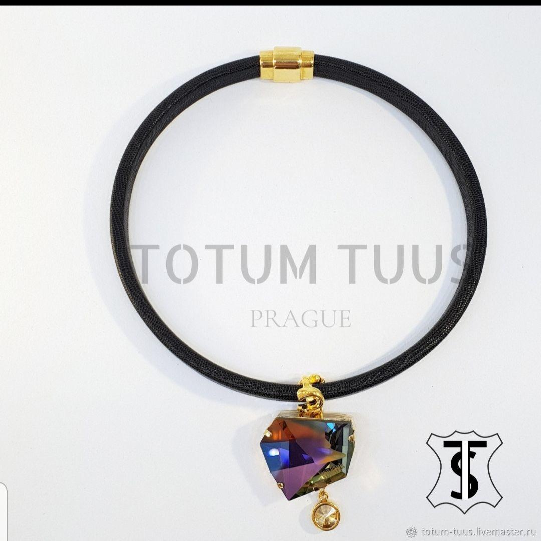 Stylish leather necklace Art:18000137, Necklace, Prague,  Фото №1