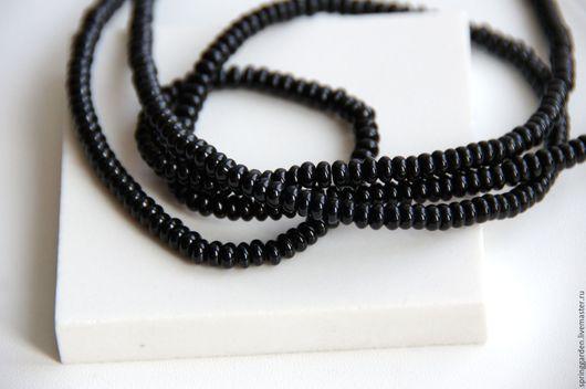 Для украшений ручной работы. Ярмарка Мастеров - ручная работа. Купить Агат черный бусины ШТРИХ, гладкая рондель 2-4 мм. Handmade.