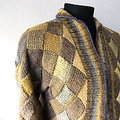 Одежда ручной работы. Ярмарка Мастеров - ручная работа Жакет вязаный Бежево-желтый энтерлак. Handmade.