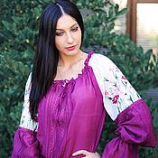 Одежда ручной работы. Ярмарка Мастеров - ручная работа Нарядная вышитая блуза. Блуза с вышивкой «Лиловая космея». Handmade.