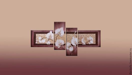 """Картины цветов ручной работы. Ярмарка Мастеров - ручная работа. Купить Объемная фреска """"Девять белых орхидей 2"""". Handmade."""