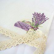 Для дома и интерьера handmade. Livemaster - original item Towel with cotton lace Lavender in Provence style. Handmade.