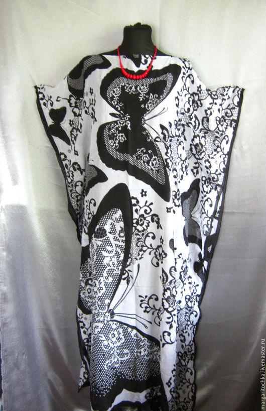 Пляжные платья ручной работы. Ярмарка Мастеров - ручная работа. Купить Пляжное платье  длинное. Handmade. Чёрно-белый