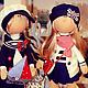 Куклы тыквоголовки ручной работы. Интерьерные куклы   Грей и Асоль. Нина Аникина. Ярмарка Мастеров. Интерьер, морская волна
