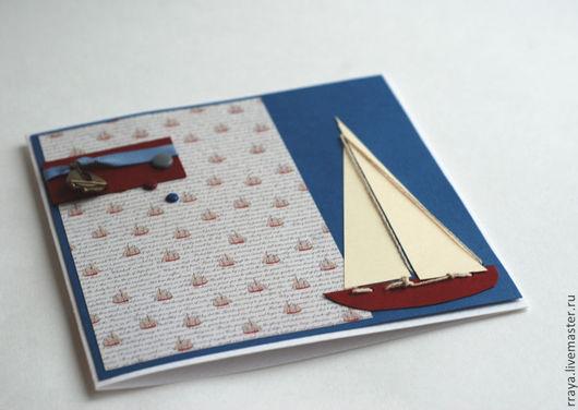 """Открытки для мужчин, ручной работы. Ярмарка Мастеров - ручная работа. Купить Открытка на день рождения """"яхты"""". Handmade. Тёмно-синий"""