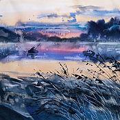 Картины и панно handmade. Livemaster - original item Painting watercolor Morning Karaganka. Handmade.