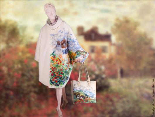 """Верхняя одежда ручной работы. Ярмарка Мастеров - ручная работа. Купить Пальто-пончо""""Домик художника"""" с рисунком из шерсти по мотивам Моне. Handmade."""