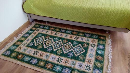 Текстиль, ковры ручной работы. Ярмарка Мастеров - ручная работа. Купить Шерстяной ковер (зеленый). Handmade. Бордовый, дорожка на пол