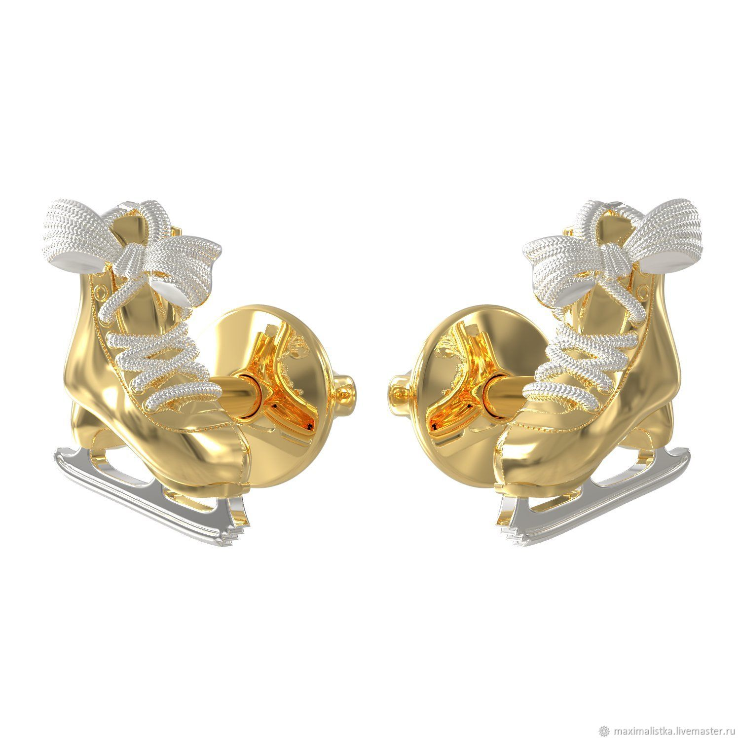 Figure Skater Skates Pussets gold 585 yellow and white, Stud earrings, Moscow,  Фото №1