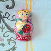 Русский стиль handmade. Livemaster - original item Matryoshka half with magnet. Handmade.