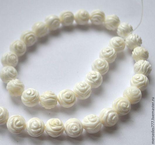 Для украшений ручной работы. Ярмарка Мастеров - ручная работа. Купить Коралл белый резной(розочка). Handmade. Белый, бусины