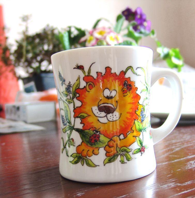 Кружки и чашки ручной работы. Ярмарка Мастеров - ручная работа. Купить Лев, божьи коровки и велосипед. Handmade. Лев