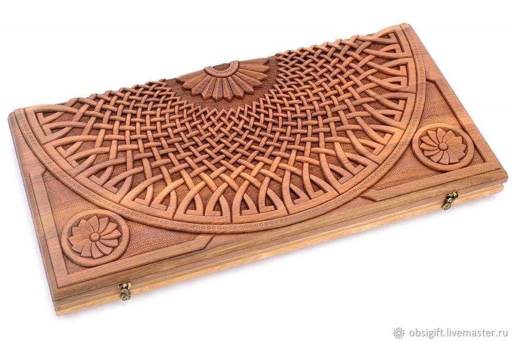 Backgammon carved collaboration 'Hector' big 60, Madman, Backgammon and checkers, St. Petersburg,  Фото №1