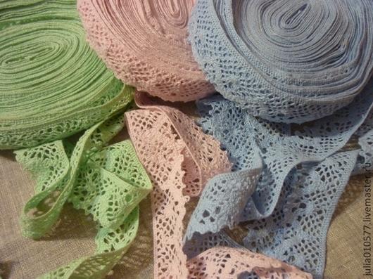 Шитье ручной работы. Ярмарка Мастеров - ручная работа. Купить Кружево, хлопок - 3 см (голубой, розовый, зеленый). Handmade.