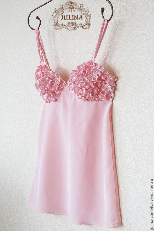 """Белье ручной работы. Ярмарка Мастеров - ручная работа. Купить Блузка шелковая """"Пташечка"""". Handmade. Бледно-розовый, блузка, комбинация"""