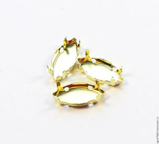 Для украшений ручной работы. Ярмарка Мастеров - ручная работа. Купить Оправы 15х7 мм сеттинги для кристаллов наветт цвет золото. Handmade.