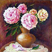 Картины и панно ручной работы. Ярмарка Мастеров - ручная работа Пионы в вазе. 40 х40 см Холст, масло. Handmade.