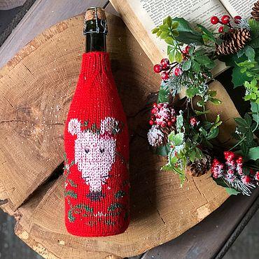 Подарки к праздникам ручной работы. Ярмарка Мастеров - ручная работа Свитер на бутылку  шампанского с вышивкой «Новогодняя мышь». Handmade.