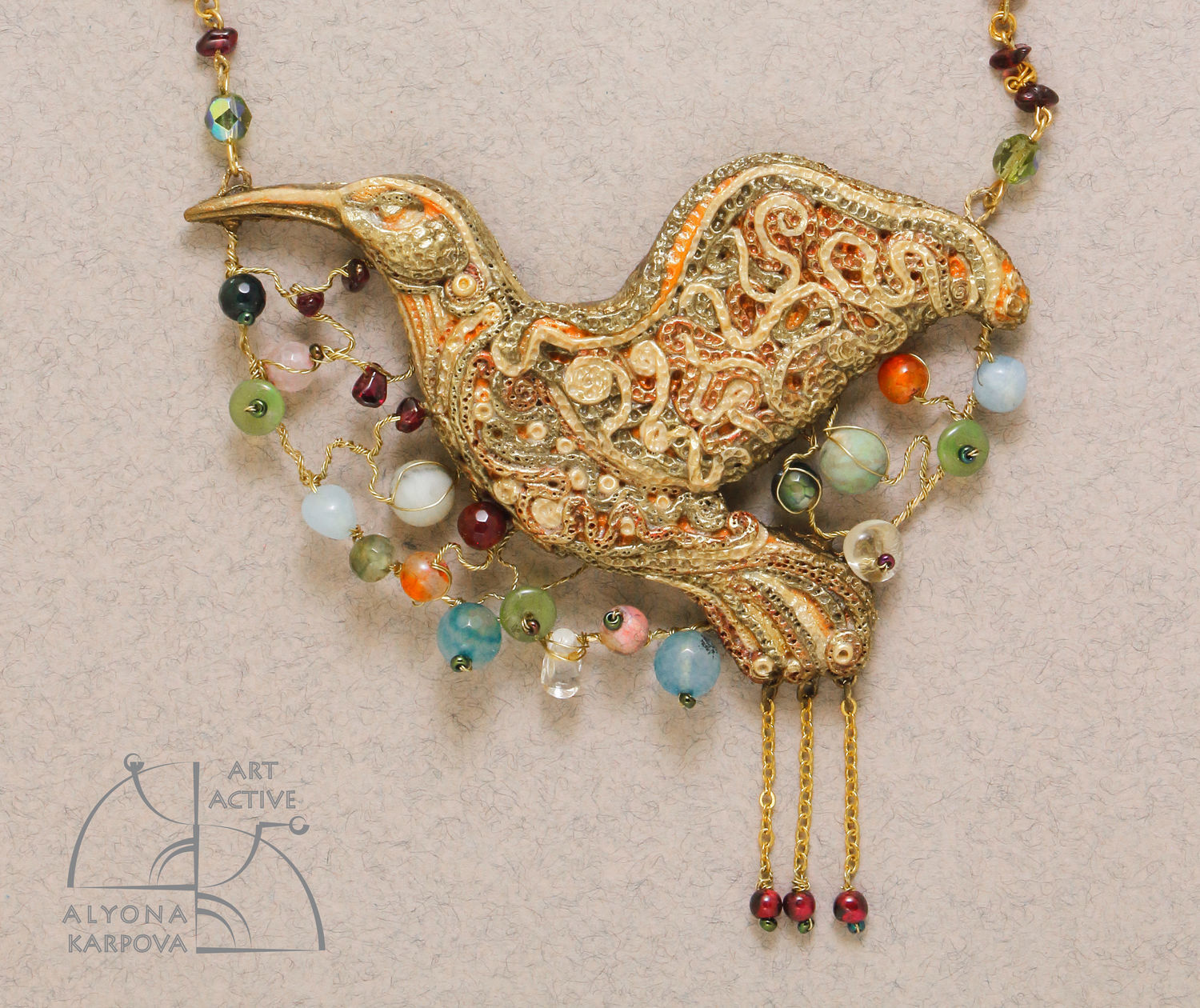 The bird of happiness. Jewelry set. Unusual necklace and long earrings, Jewelry Sets, St. Petersburg,  Фото №1
