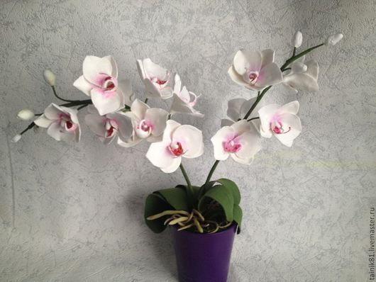 Интерьерные композиции ручной работы. Ярмарка Мастеров - ручная работа. Купить Орхидеи в горшке. Handmade. Белый, орхидеи, интерьерное украшение