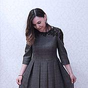 Одежда ручной работы. Ярмарка Мастеров - ручная работа платье в клетку с шерстяным кружевом. Handmade.