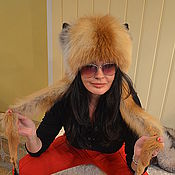 Аксессуары handmade. Livemaster - original item Fur hat with Fox ears. Handmade.