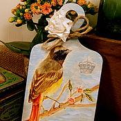Картины и панно ручной работы. Ярмарка Мастеров - ручная работа «Птичка-Невеличка» досочка-подарок. Handmade.