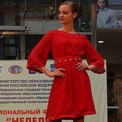 Одежда ручной работы. Ярмарка Мастеров - ручная работа Платье из льна и шифона с поясом. Handmade.