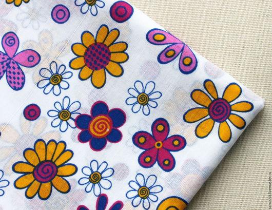 Шитье ручной работы. Ярмарка Мастеров - ручная работа. Купить Ткань с цветами 50х40 см. Handmade. Голубой, ткань для рукоделия