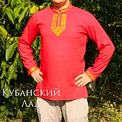 Русский стиль handmade. Livemaster - original item Red linen embroidered shirt