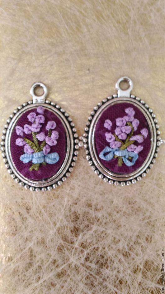 серьги с вышивкой, лавандовый букет, фиолетовый, пурпурный, купить серьги на Ярмарке мастеров, Серьги купить, Прованс , романтический стиль