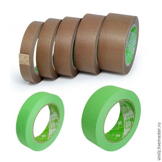 Скотч бумажный крафт 40-45 м, клейкая лента бумажная коричневая, зеленая