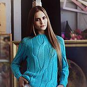 Одежда handmade. Livemaster - original item Jerseys: Jumper with large braids turquoise cotton. Handmade.
