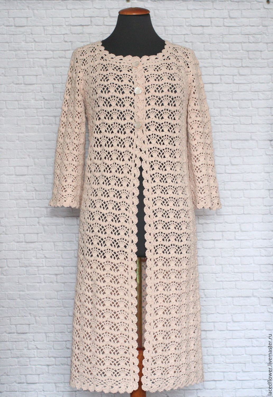 Summer fishnet coats Creme brulee. Handmade crochet, Cardigans, Permian,  Фото №1